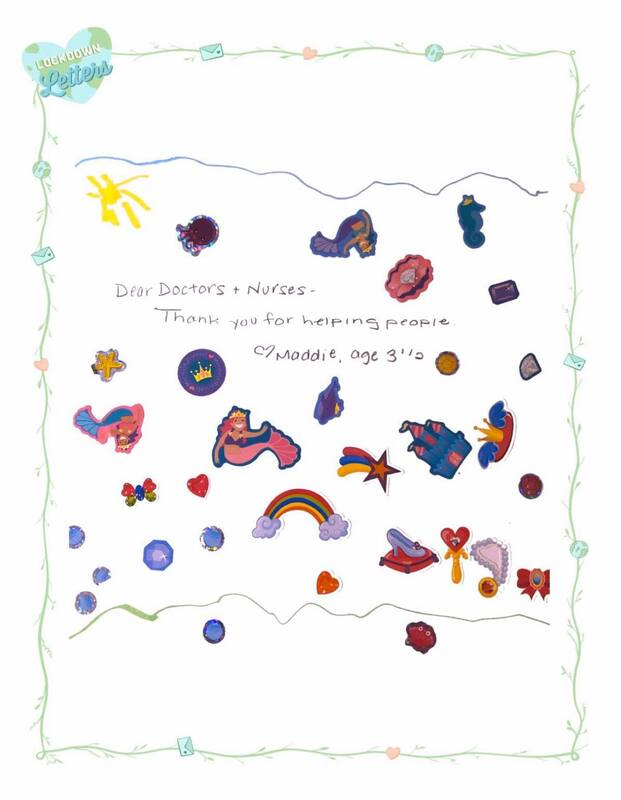 With the help of a family member, a 3-year-old submitted a drawing with stickers accompanied by a short letter.
